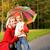 aile · sonbahar · orman · yağmur · şemsiye · park - stok fotoğraf © nejron