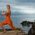 yoga · donna · serena · tramonto · spiaggia · posa - foto d'archivio © nejron