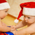Two beautiful babies in Christmas hats stock photo © Nejron