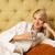 genç · güzel · kadın · oturma · yatak · içme · kahve - stok fotoğraf © nejron