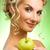 boldog · nő · zöld · alma · szőke · nő · gyönyörű - stock fotó © nejron
