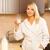 genç · kadın · içmek · süt · beyaz · kadın · cam - stok fotoğraf © nejron