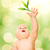 beautiful baby trying to catch green leaf stock photo © nejron