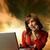 beautiful young woman working on her laptop heaven background b stock photo © nejron