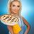 beautiful woman holding hot italian pie retro stylized portrait stock photo © nejron