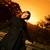 fiatal · lány · dob · őszi · levelek · naplemente · idő · fa - stock fotó © nejron