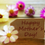 sunny label with text happy mothers day with cosmea blossoms stock photo © nelosa