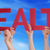 many people hands holding red straight word health blue sky stock photo © nelosa