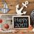 chalkboard with summer decoration text happy 2017 stock photo © nelosa