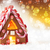 gingerbread house golden background with bokeh and snowflakes copy space stock photo © nelosa