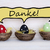 three colorful easter eggs with comic speech balloon with danke means thank you stock photo © nelosa