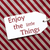 label on red wrapping paper quote enjoy the little things stock photo © nelosa