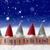 gnomes blue background snowflakes text happy holidays stock photo © nelosa