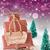 vertical christmas sleigh on purple background text seasons greetings stock photo © nelosa