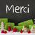 christmas decoration cement snow merci means thank you stock photo © nelosa
