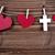 üç · kalpler · masa · örtüsü · kırmızı · anneler · gün - stok fotoğraf © nelosa