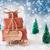 christmas sleigh on blue background nikolaus means nicholas day stock photo © nelosa