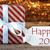 atmospheric christmas gift with label happy 2017 stock photo © nelosa