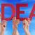 many people hands holding red straight word idea blue sky stock photo © nelosa