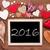 one chalkbord many red hearts text 2016 stock photo © nelosa