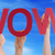 people hands hold red straight word wow blue sky stock photo © nelosa