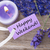 purple label with text happy weekend and lavender blossoms stock photo © nelosa