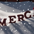 christmas card with snow merci mean thank you snowflakes hat stock photo © nelosa