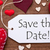 label red hearts flat lay text save the date stock photo © nelosa