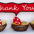 three red easter eggs with comic speech balloon with thank you stock photo © nelosa