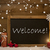 festive christmas card blackboard snowflakes candles welcome stock photo © nelosa