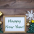 frame with christmas decoration and text happy new year stock photo © nelosa