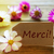 sunny label with french text merci with cosmea blossoms stock photo © nelosa