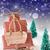 vertical christmas sleigh blue background nikolaus means nicho stock photo © nelosa