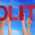 hands holding red straight word politic blue sky stock photo © nelosa