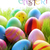 many colorful easter eggs on green grass with text happy easter stock photo © nelosa