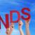 kezek · tart · piros · szó · kék · ég · sok - stock fotó © nelosa