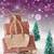 christmas sled on snow with vertical purple background copy space stock photo © nelosa