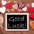 one chalkbord many red hearts good luck stock photo © nelosa