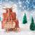 christmas sleigh on blue background 2017 stock photo © nelosa