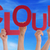 many people hands holding red word cloud blue sky stock photo © nelosa