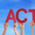hands holding red straight word be active blue sky stock photo © nelosa