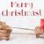 rendier · sneeuw · tekst · vrolijk · christmas · eland - stockfoto © Nelosa