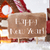 gingerbread house with sled snowflakes text happy new year stock photo © nelosa
