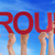 hands hold red straight word groups blue sky stock photo © nelosa