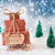 christmas sleigh on blue background hello 2017 stock photo © nelosa