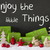 christmas decoration cement snow quote enjoy the little things stock photo © nelosa