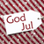 label on red paper snowflakes god jul means merry christmas stock photo © nelosa