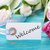 etichetta · benvenuto · tulipano · fiori · Pasqua · legno - foto d'archivio © Nelosa