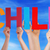 many people hands holding colorful straight word child blue sky stock photo © nelosa