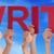 hands holding red straight word write blue sky stock photo © nelosa